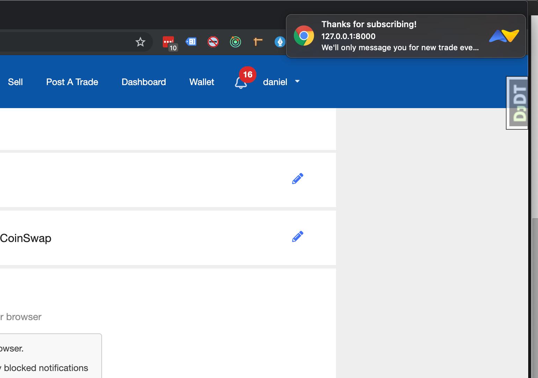 push notification test on LocalCoinSwap