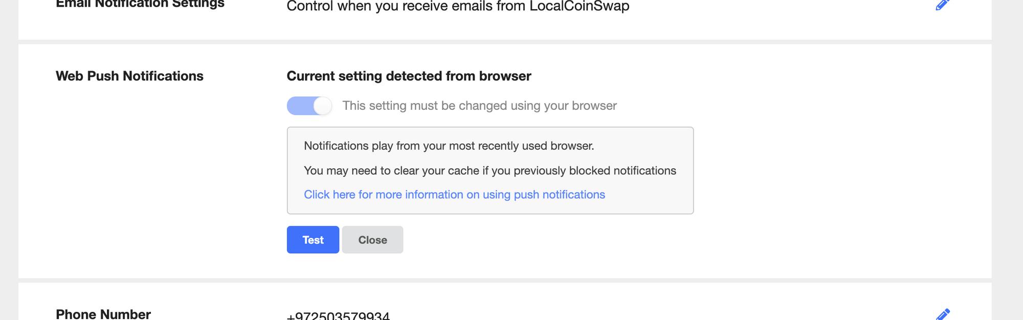 enabling push notifications on LocalCoinSwap