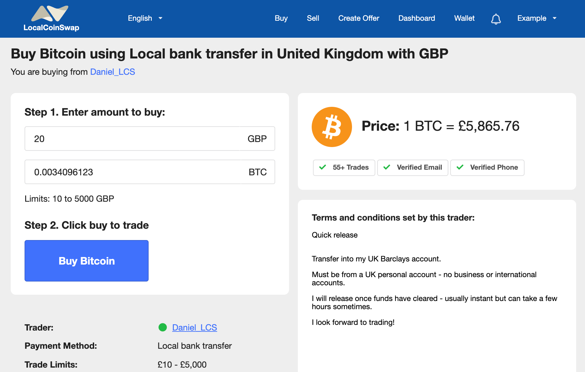 buying bitcoin with GBP