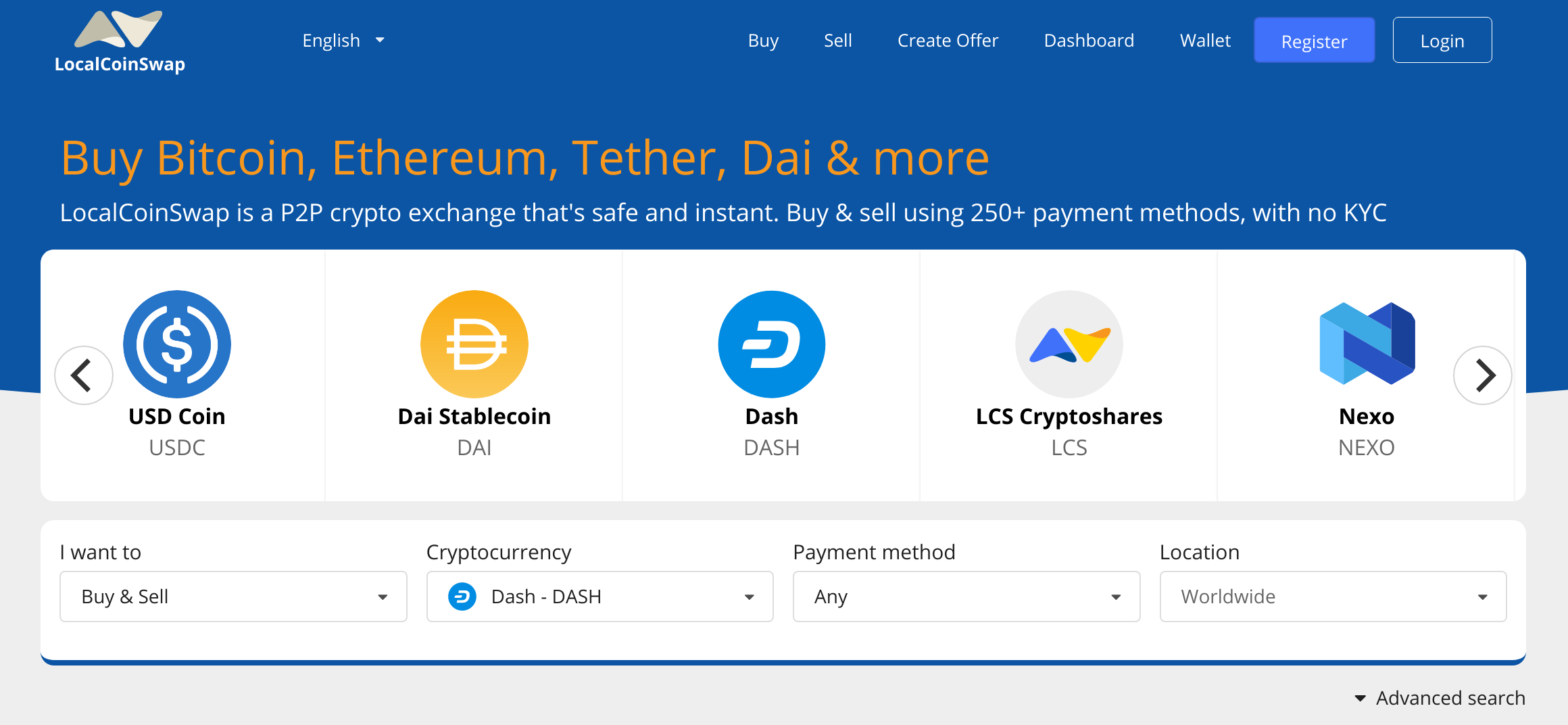 trading Dash cryptocurrency worldwide for cash and other payment methods