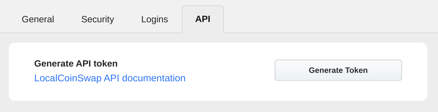 generate API token for LocalCoinSwap API