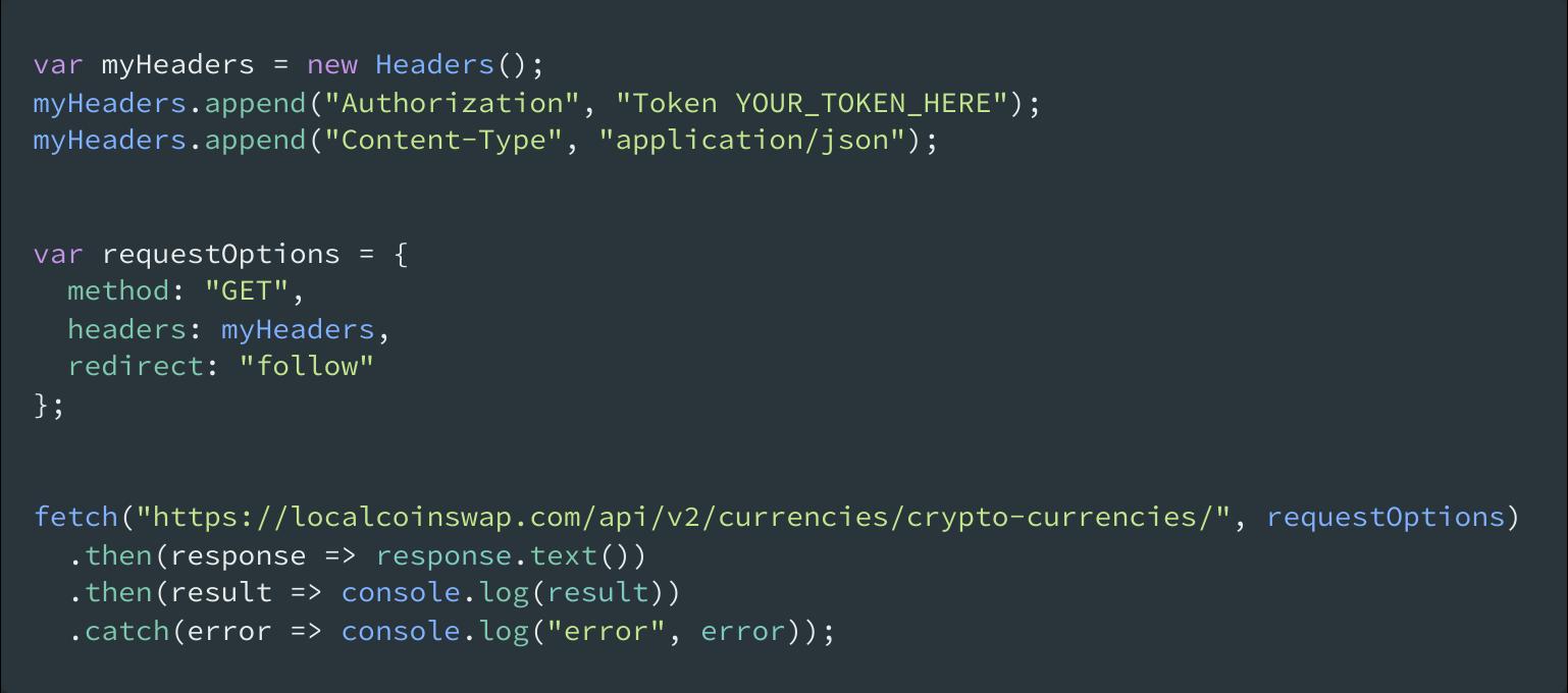 cryptocurrency API JavaScript