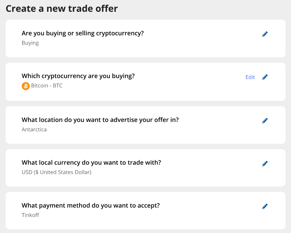 creating a trade offer on LocalCoinSwap