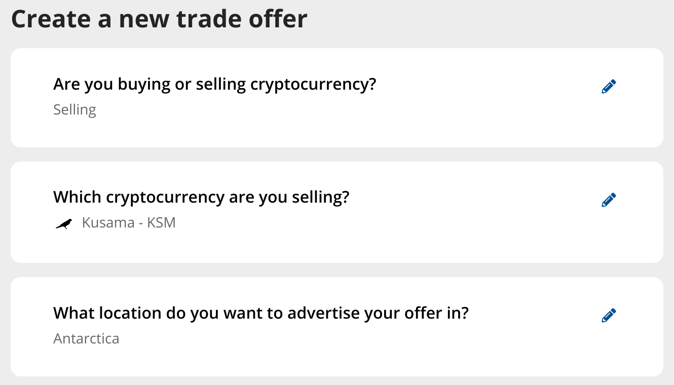 selling KSM worldwide with P2P trading